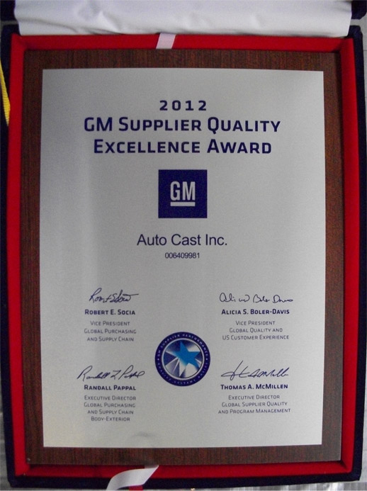 Autocast Inc 2012 GM Supplier Quality Excellence Award